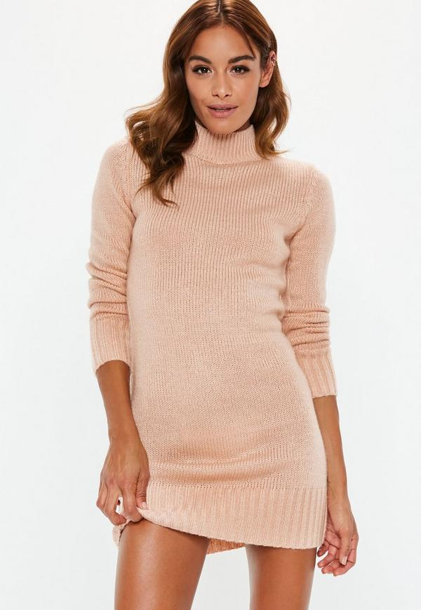 Nude Fluffy High Neck Jumper Dress  d8b7964c2