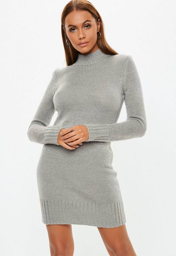 Grey High Neck Jumper Dress  1519a4b09