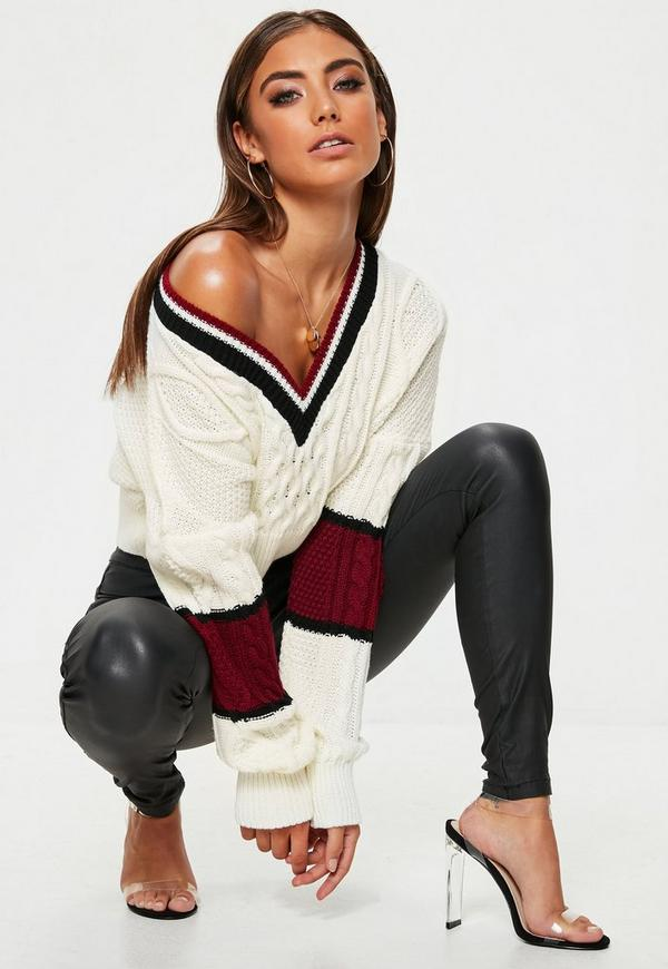 White V Neck Colour Block Cable Jumper by Missguided