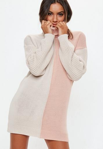 Pink Colourblock Roll Neck Jumper Dress Missguided