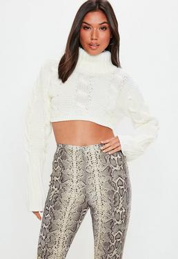 Cream Super Cropped Cable Jumper