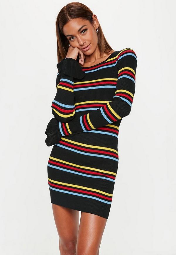 913cda17ec Black Striped Frill Sleeve Knitted Mini Dress