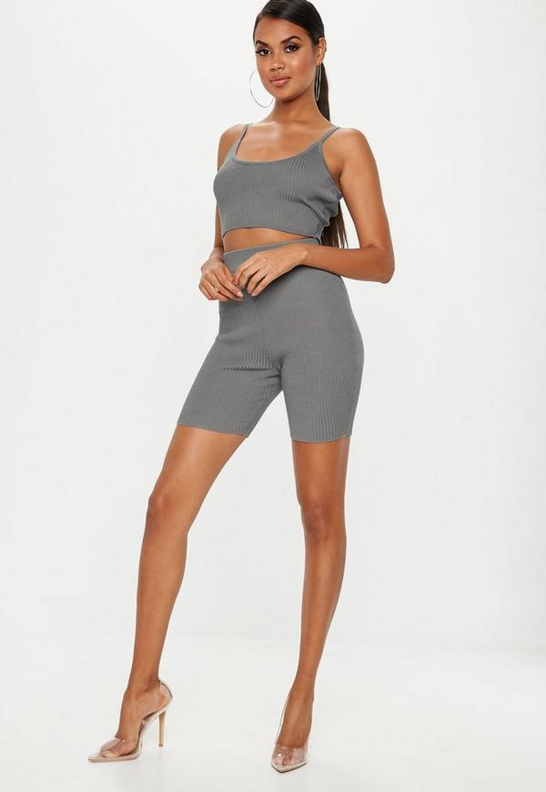 68170783e95 Grey Strappy Knitted Ribbed Crop Top | Missguided Australia