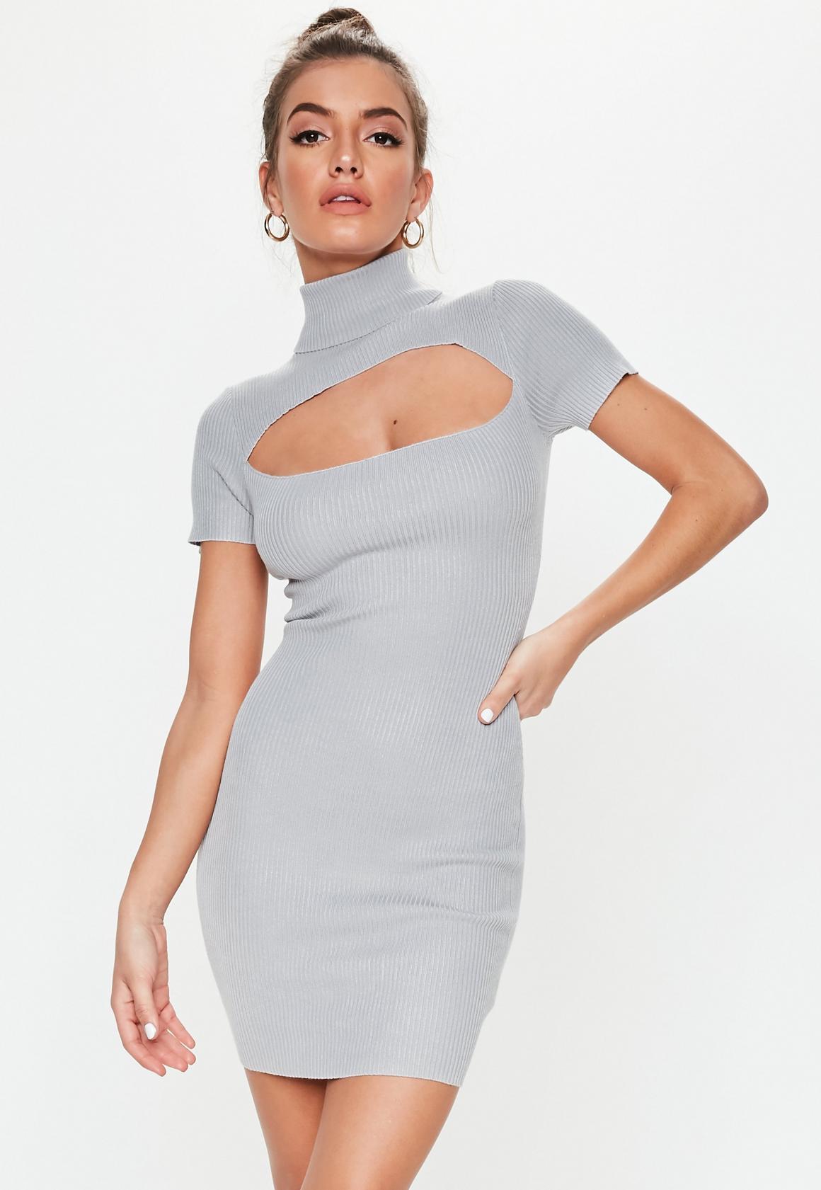 Missguided - robe courte côtelée e découpe dans le dos - 1