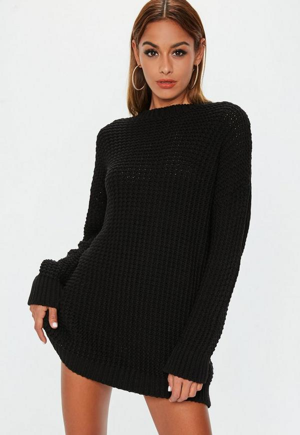 Black Chunky Knitted Dress Missguided