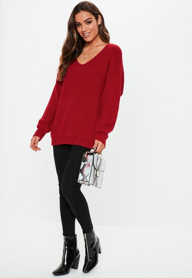 Missguided - Premium V Neck Boyfriend Jumper - 2