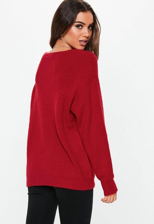 Missguided - Premium V Neck Boyfriend Jumper - 4