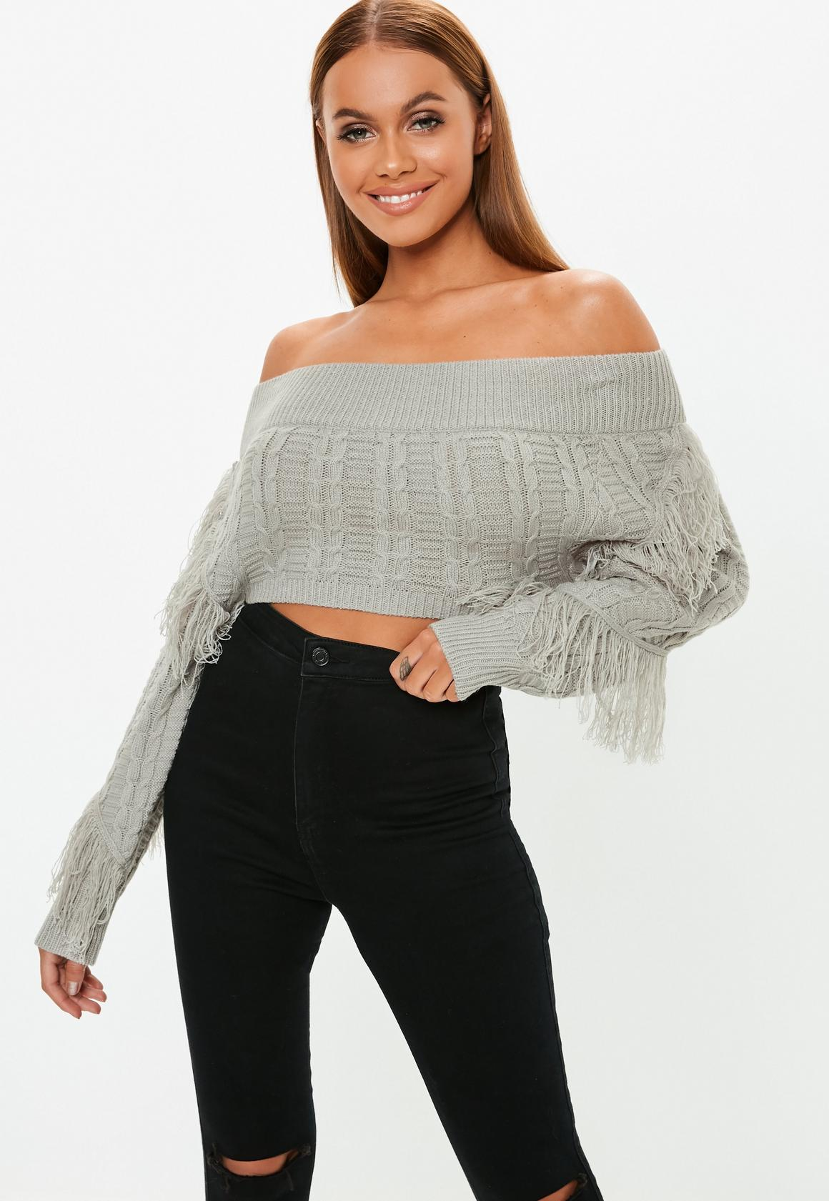 finest fabrics reputable site good out x Grey Bardot Cropped Cable Knit Fringe Jumper