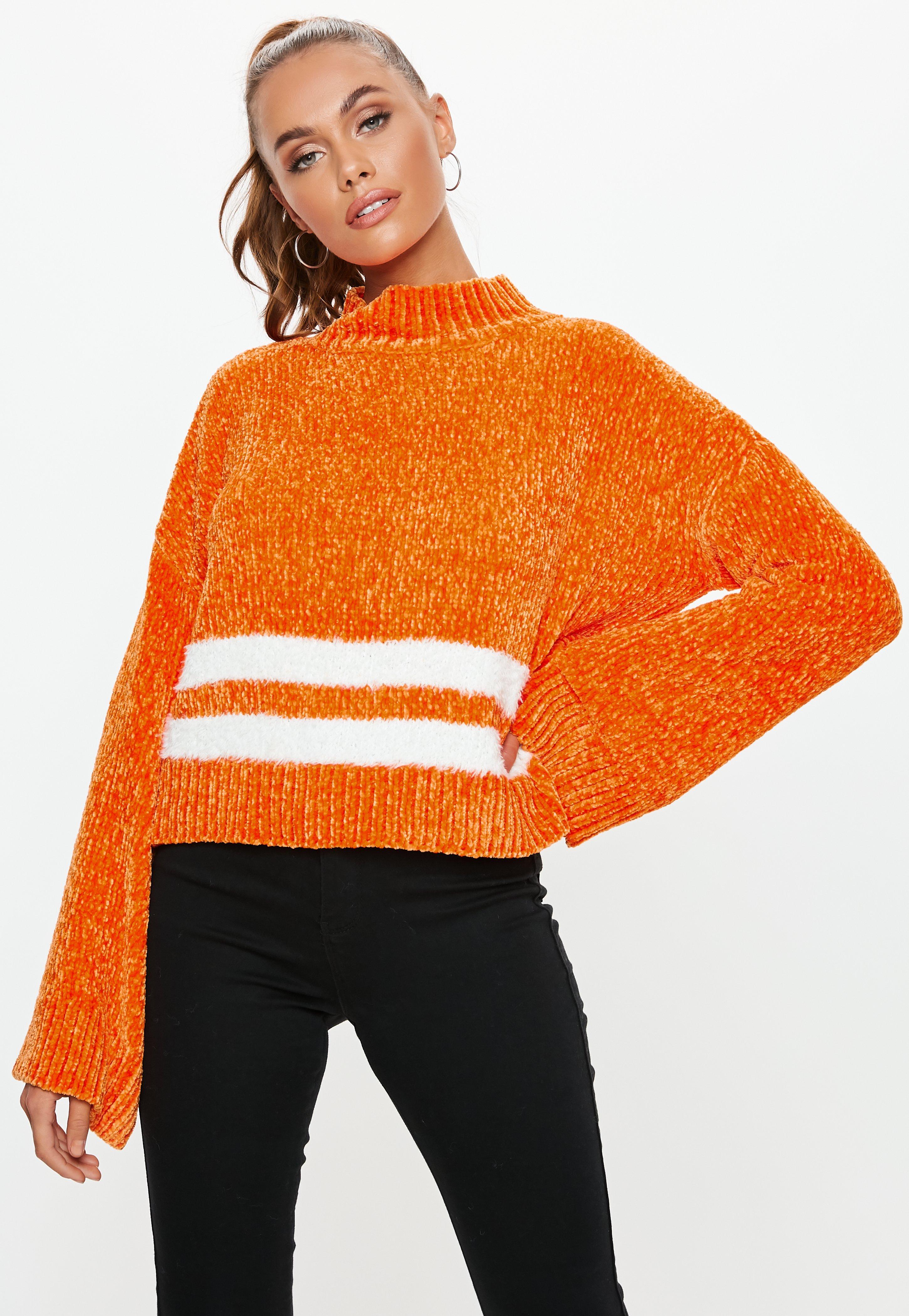 Chenille Montant Et En Rayures Court Col Orange Pull Design 4R5Aq3jL