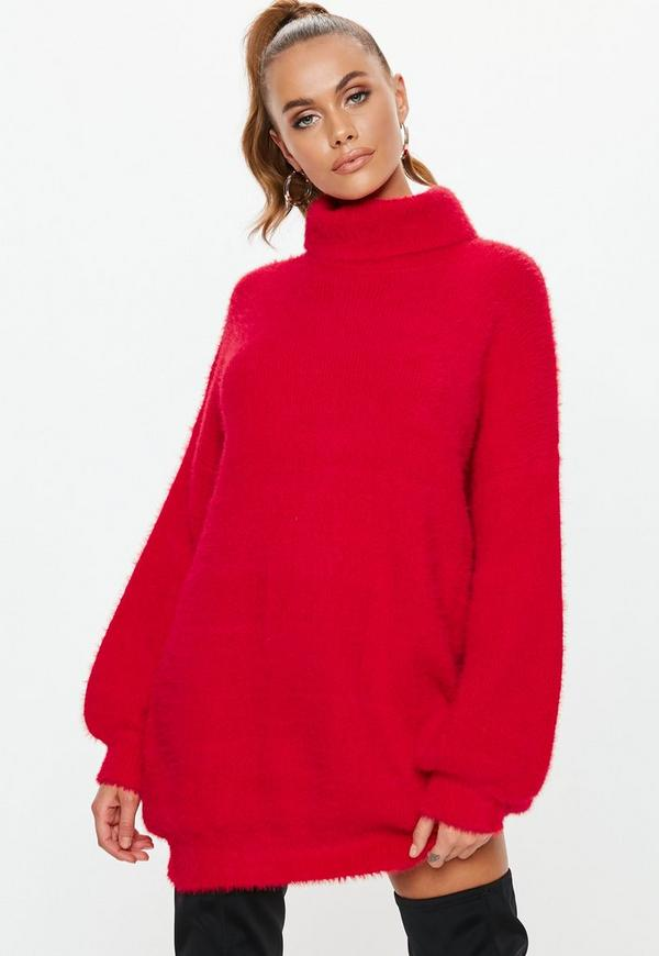 Premium Red Fluffy Roll Neck Jumper Dress  f37d21234