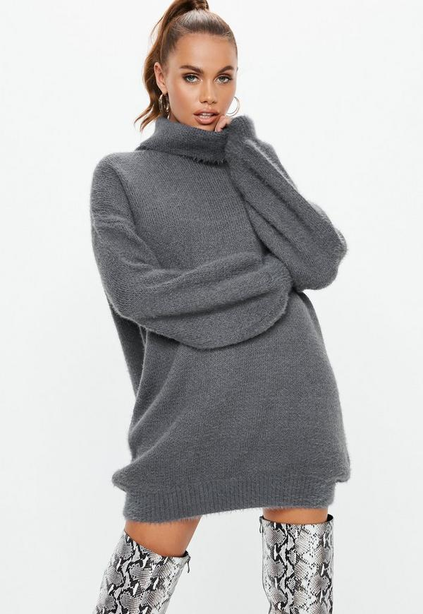 Premium Grey Fluffy Roll Neck Jumper Dress  fd2fc56d3