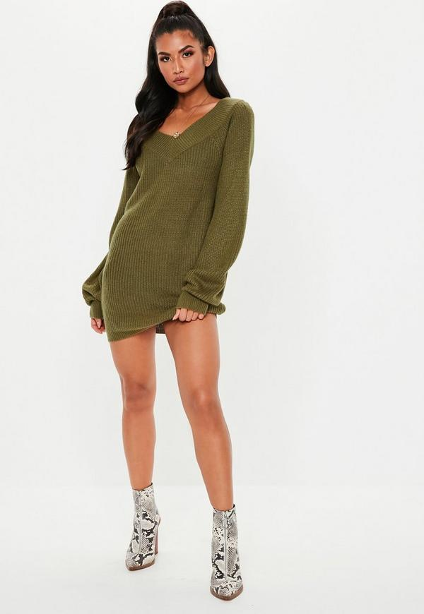 cf226b3366f0 Khaki V Neck Off Shoulder Jumper Dress. Previous Next