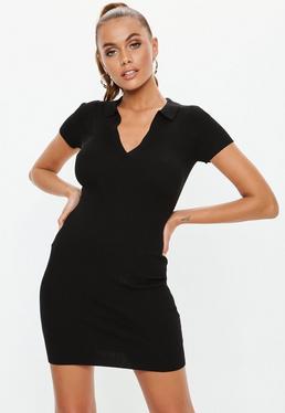 Black Collar Plunge Mini Knitted Dress