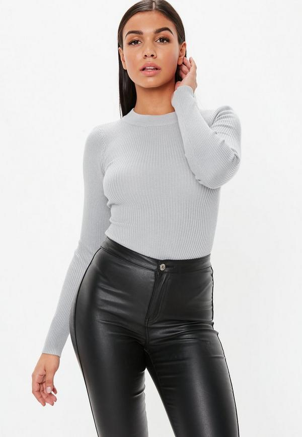 Gray Crew Neck Ribbed Knitted Bodysuit by Missguided