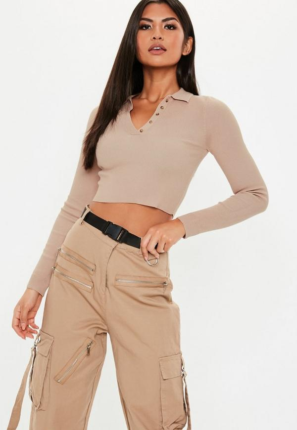 bb9d594314859 Tan Collared Button Knitted Crop Top. Previous Next