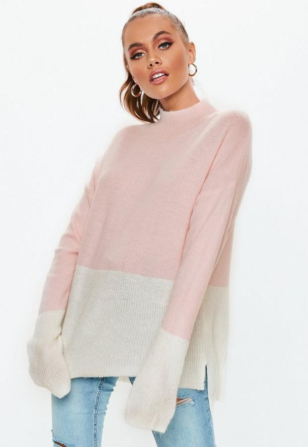 Missguided - High Neck Fuffy Colourblock Jumper - 1