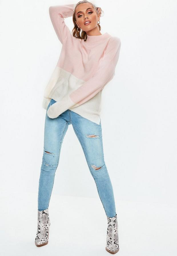Missguided - High Neck Fuffy Colourblock Jumper - 2