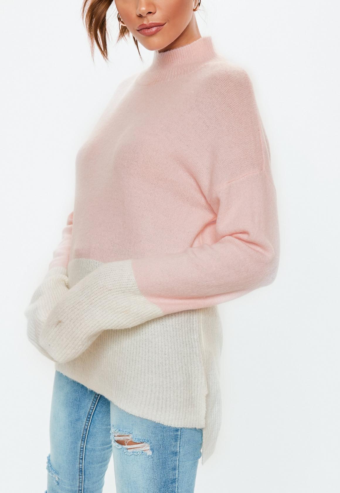 Missguided - pull colorblock rose à col haut - 3