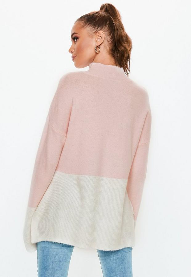 Missguided - High Neck Fuffy Colourblock Jumper - 4
