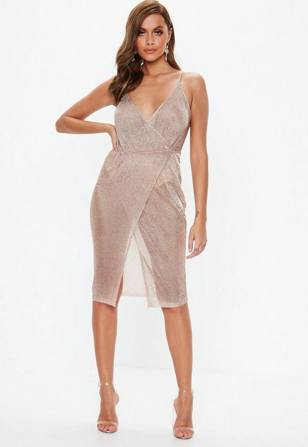 Rose Gold Metallic Knitted Wrap Midi Dress Missguided