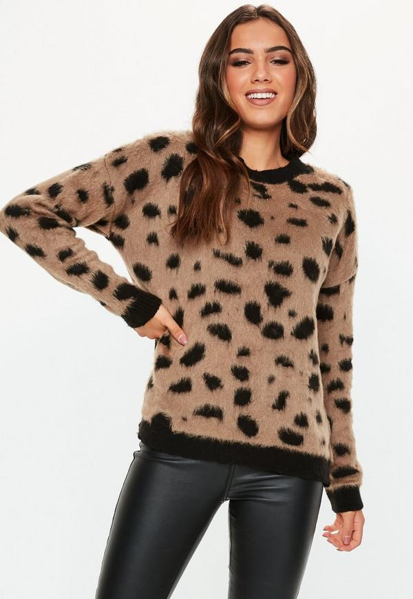 Brown Brushed Animal Print Oversized Jumper by Missguided