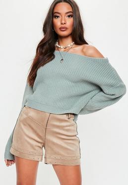0c9804cfdc Lilac Balloon Sleeve Crop Sweatshirt · Green Crop Off Shoulder Knitted  Jumper