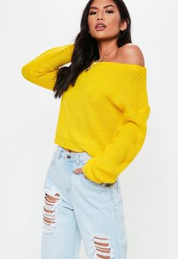 5455999b7a8ea Yellow Crop Off Shoulder Knitted Jumper