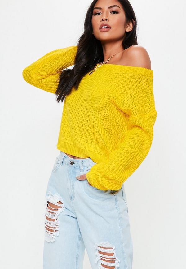 c072ee76ed66 Yellow Crop Off Shoulder Knitted Jumper