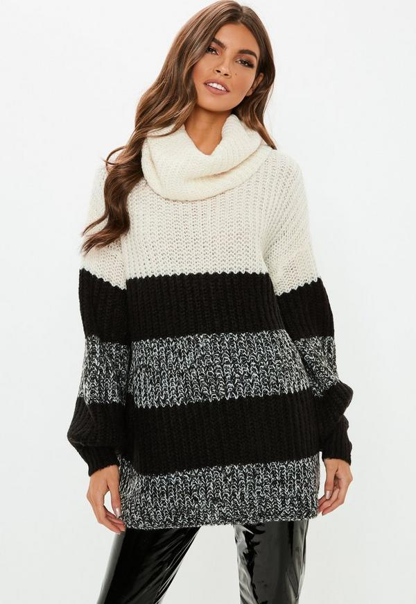gray color block cowl neck sweater