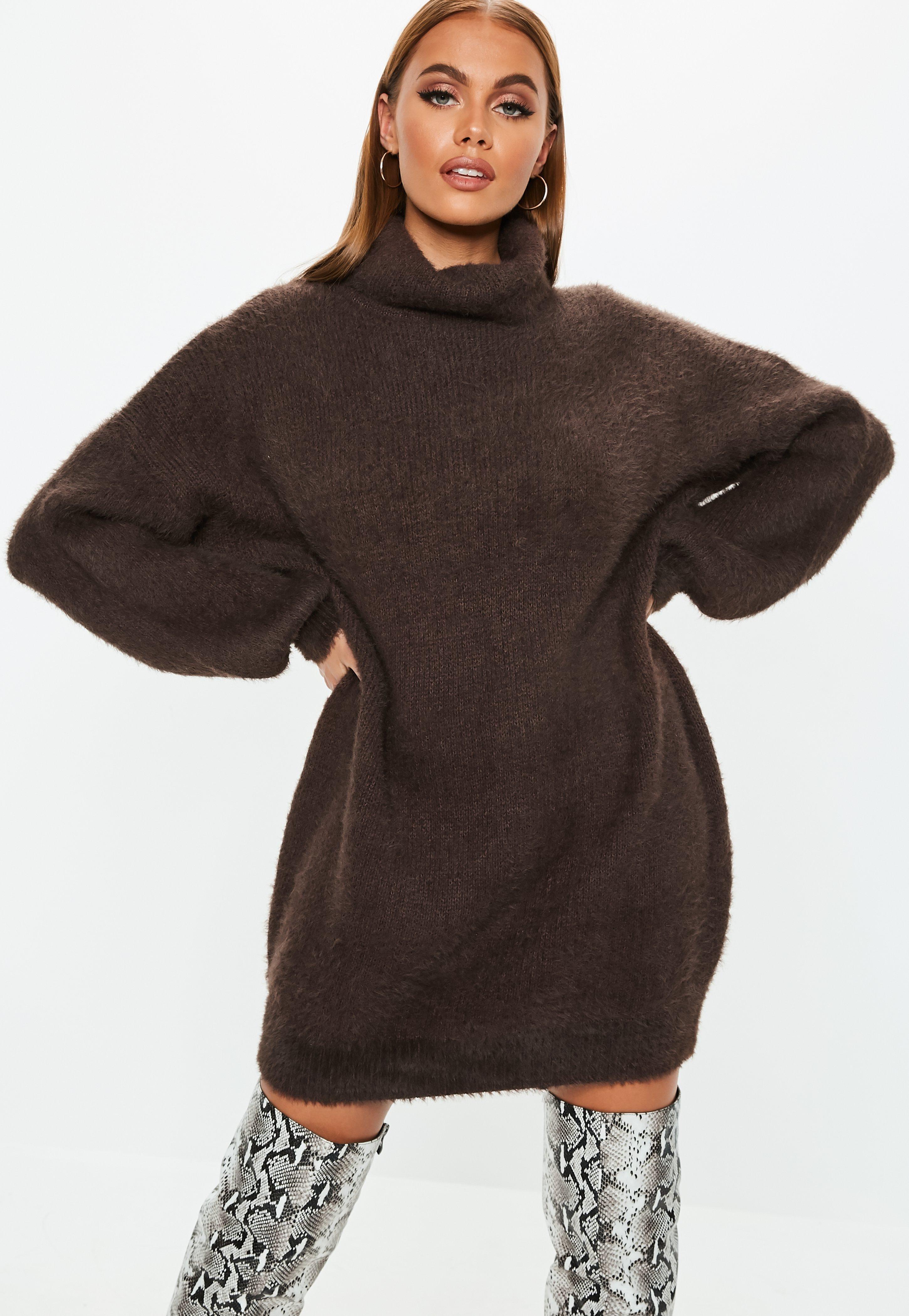 316783087b0 Robe-pull premium oversize marron toute douce à col roulé