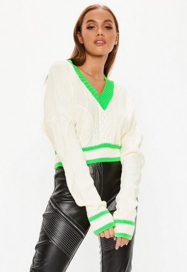 Neon Lime Green Cable Cropped Knitted Jumper by Missguided