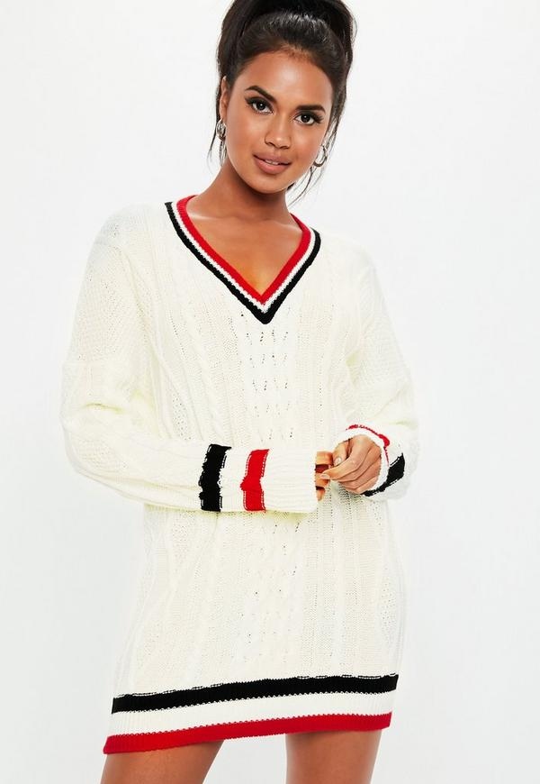 Cream V Neck Cable Knitted Jumper Dress by Missguided