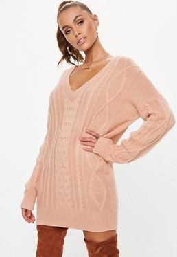 0122dcd150 V Neck Jumper Dresses