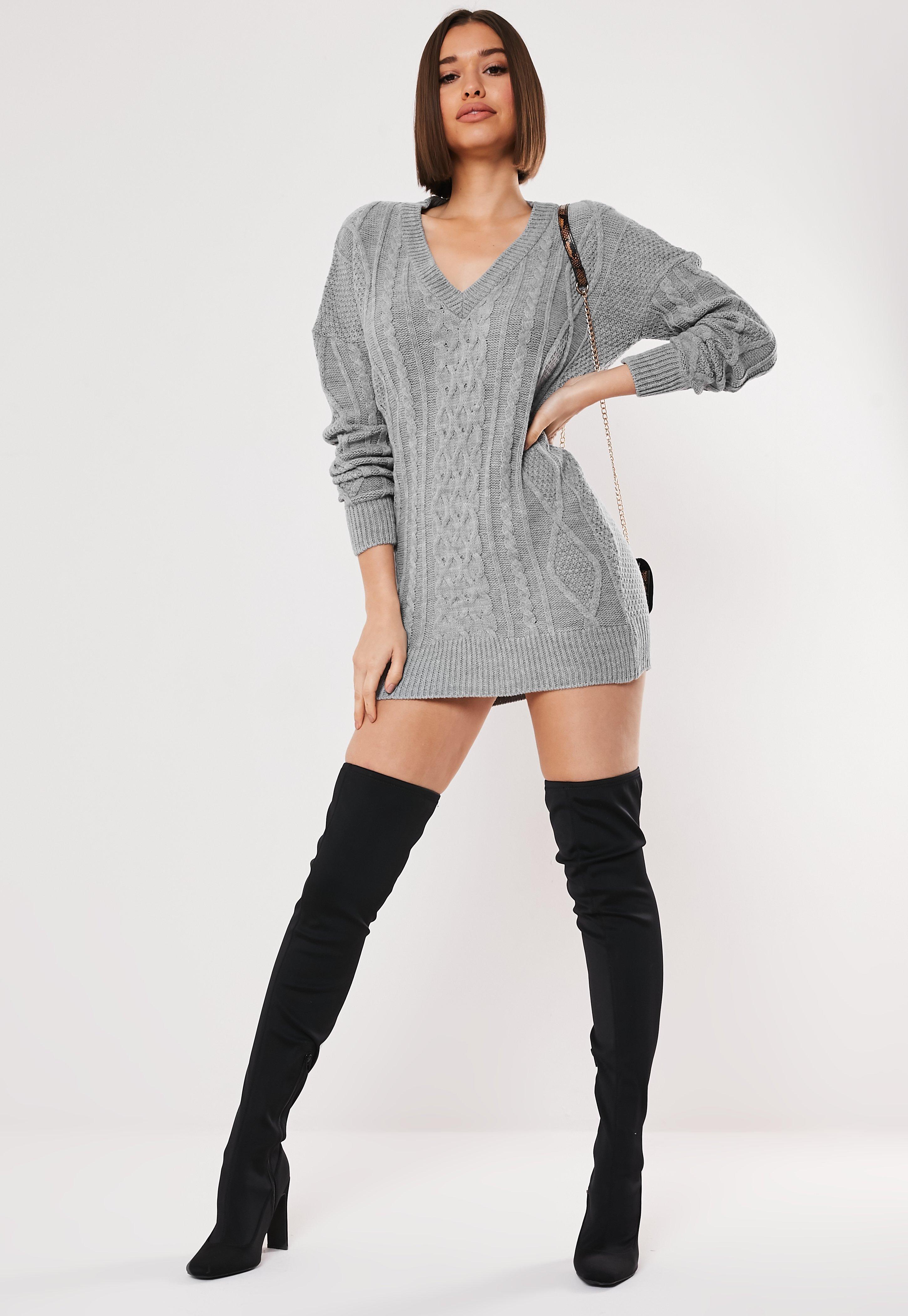 Grey V Neck Cable Knit Jumper Dress