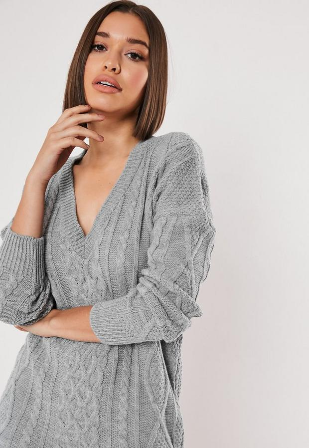 Missguided - V Neck Cable Knitted Jumper Dress - 3