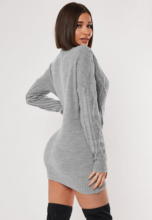 Grey V Neck Cable Knitted Jumper Dress Missguided Australia
