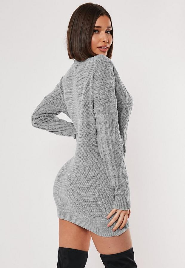 Missguided - V Neck Cable Knitted Jumper Dress - 4