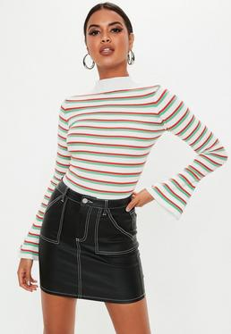 c7a30f531d Stripe Tops. White Long Sleeve Tops