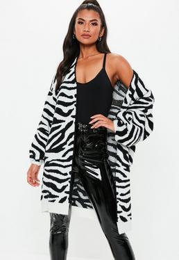 e130ba1209f0a8 Black Shaggy Crop knitted Cardigan · White Zebra Brushed Balloon Sleeve Knitted  Cardigan