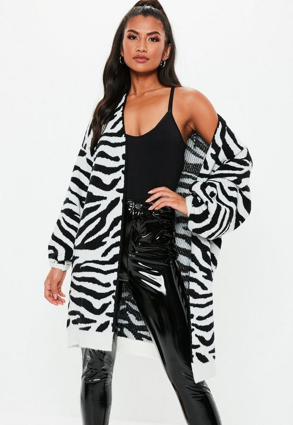 e9b3d24c6f902 ... White Zebra Brushed Balloon Sleeve Knitted Cardigan. Previous Next