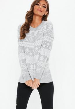 7b26012ddcf Grey Knitted Printed Christmas Jumper