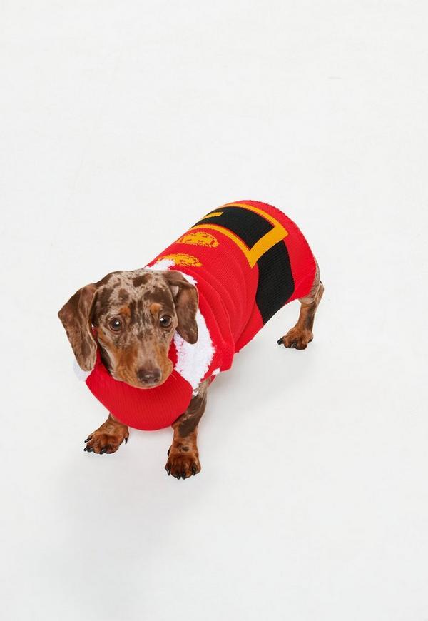 Red Santa Christmas Dog Jumper Missguided