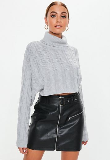 c33d403a28e66b Grey Cable Roll Neck Cropped Knitted Jumper | Missguided Australia