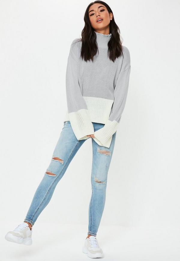 Grey Colourblock High Neck Knitted Jumper by Missguided