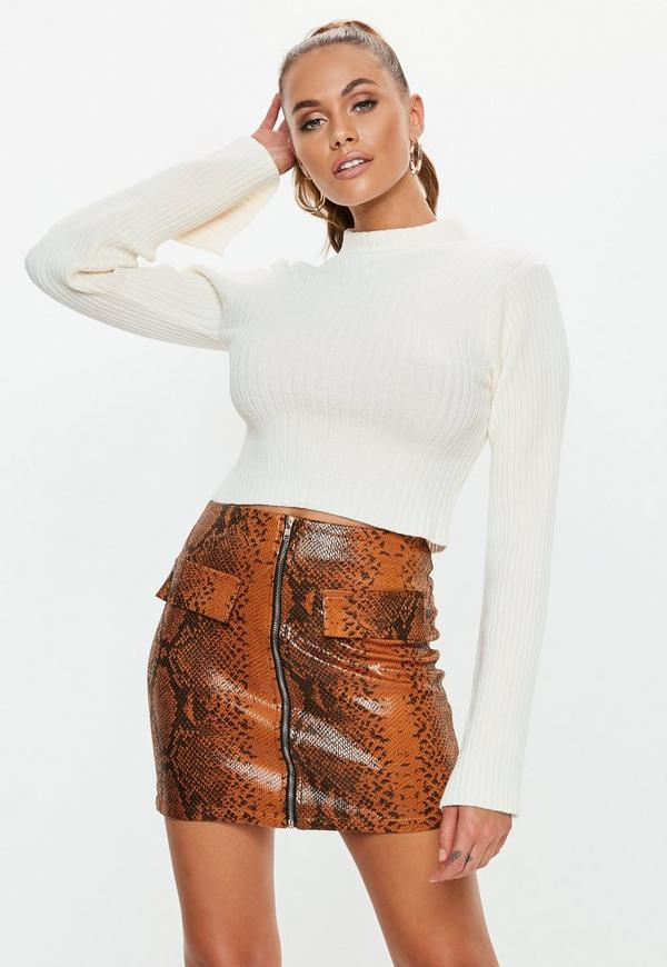 White Fitted Flare Sleeve Cropped Sweater Missguided