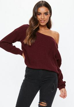 b8478eb82a94 Burgundy Off Shoulder Knitted Jumper