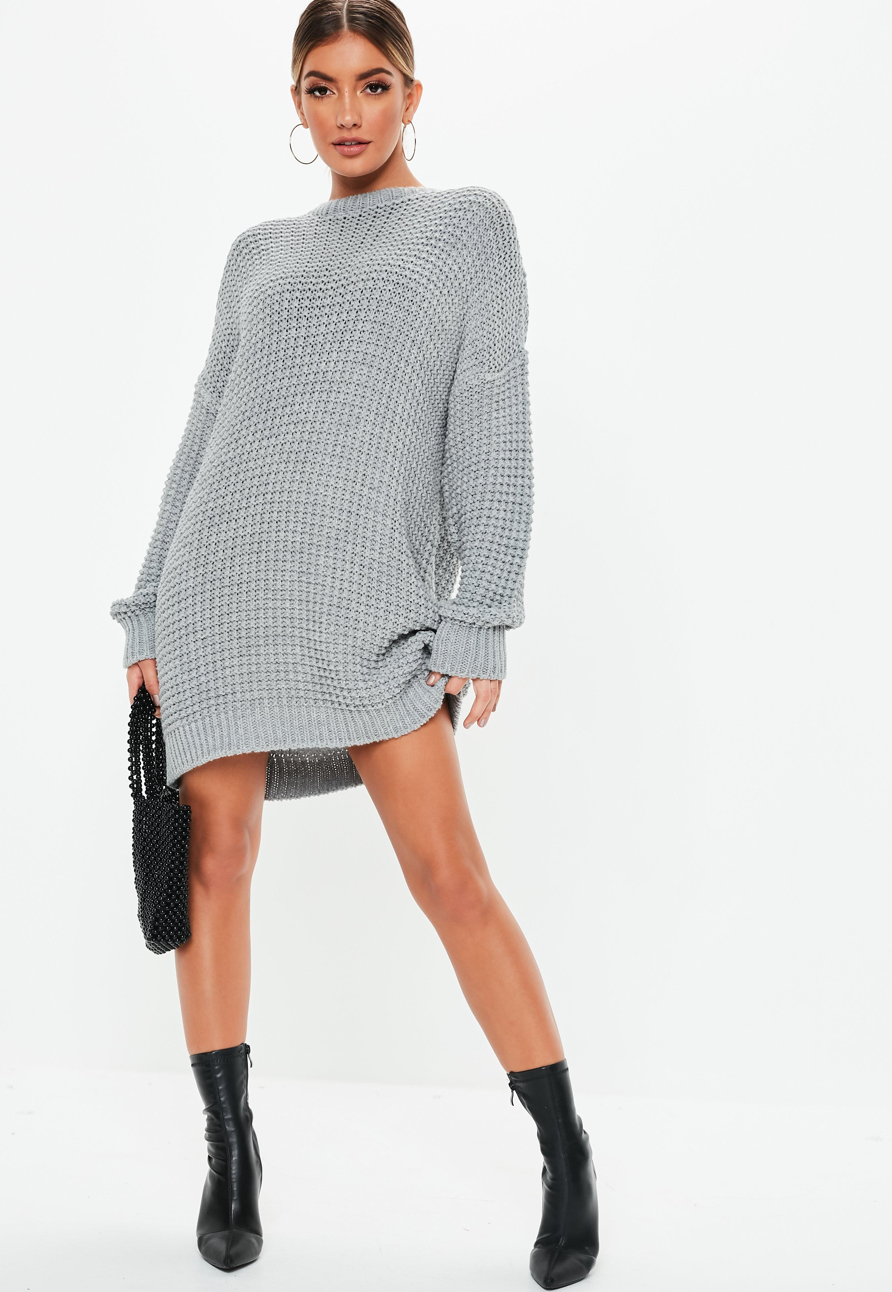151d9056c28 Grey Chunky Knitted Jumper Dress