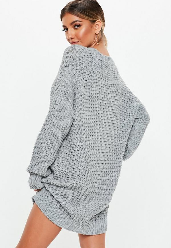 Grey Chunky Knitted Jumper Dress Missguided