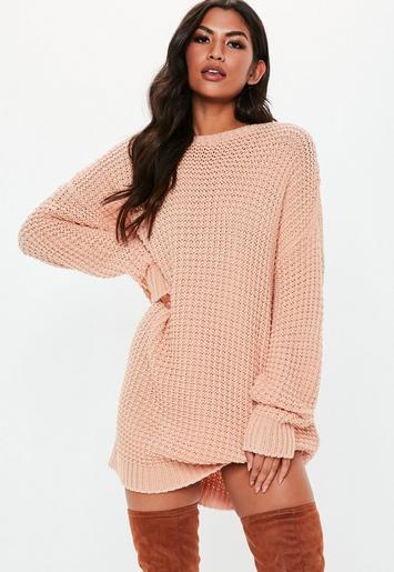 cc8b5587f29 Nude Oversized Chunky Knitted Sweater Dress