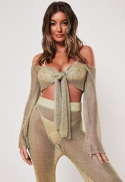 f83ffcbc6291f6 ... Gold Co Ord Tie Front Crop Top